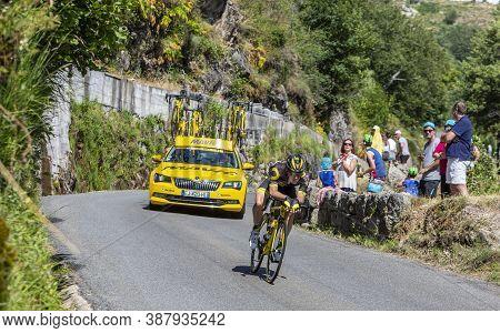 Pont-de-montvert-sud-mont-lozere, France - July 21, 2018: The French Cyclsits Thomas Boudat Of Team