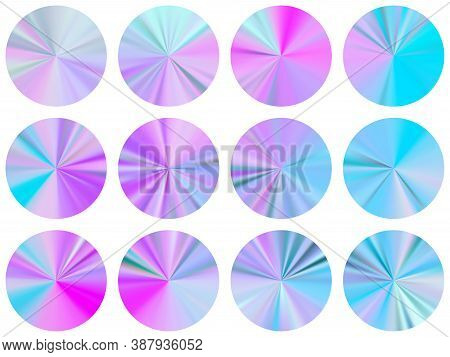 Pink Blue Radial Metallic Gradient Ux Button Elements Vector Set. Isolated Soft Swatches. Banner Met