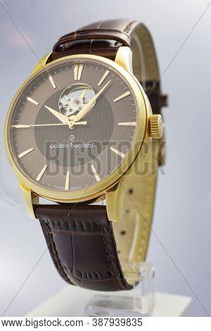 Geneve, Switzerland 01.10.2020 - Claude Bernard Man Swiss Made Mechanical Watch Gold Pvd Coating Bei