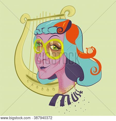 The Vector Illustration Interpretation Of The Image Of The Muse