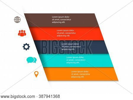 Infographic Design Template With 5 Ribbons, Stock Vector