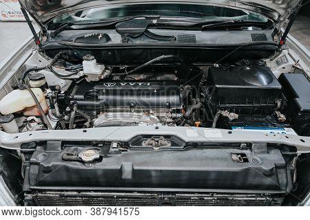 Novosibirsk, Russia - September 29, 2020: Toyota Harrier, Close Up Of A Clean Motor Block. Internal