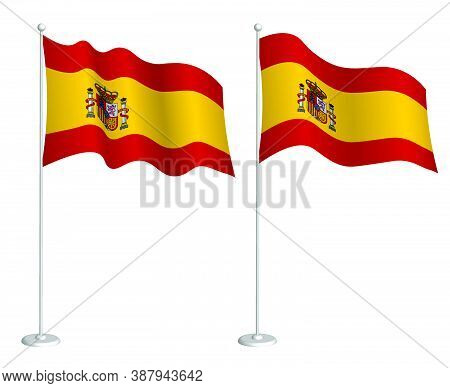 Spain Flag On Flagpole Waving In The Wind. Holiday Design Element. Checkpoint For Map Symbols. Isola