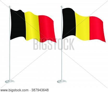Flag Of Belgium On Flagpole Waving In The Wind. Holiday Design Element. Checkpoint For Map Symbols.