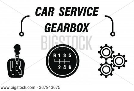 Infographics, Car Repair Service. Car Gearbox Is Mechanical And Automatic. Vehicle Speed Shift Lever