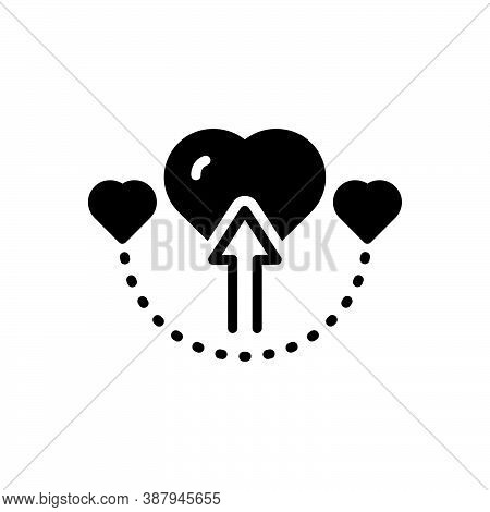 Black Solid Icon For Direct Forward Arrow Straight Love Manifest Heart