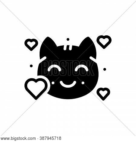Black Solid Icon For Lovely Beautiful Graceful Kitty Cat Animal Nice Sweet Cute Kitten Domestic Ador