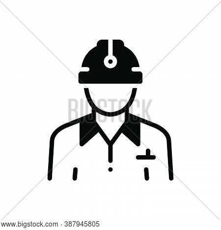 Black Solid Icon For Civil Civilian Citizen Denizen Worker Construction Contractor Helmet Employee M