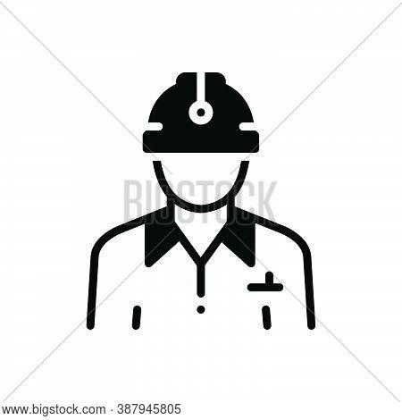 Black Solid Icon For Civil Civilian Citizen Denizen Worker Construction Contractor Helmet Employee M