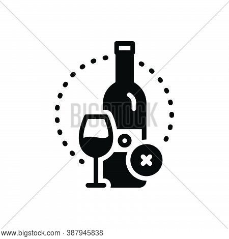 Black Solid Icon For Essentially Fundamentally Basically Prohibited  Wine Bottle Glass Alcohal Liquo