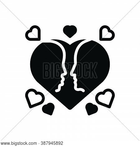 Black Solid Icon For Lover Couple-in-love Heart Couple Love Relationship Romantic Velentine Engageme