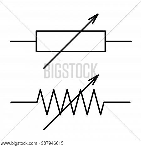 Symbol Of A Variable Resistor With Linear Control, The Electric Resistance Of The Black Lines, Elect