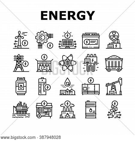 Energy Electricity And Fuel Power Icons Set Vector. Electric Solar Panel And Battery, Turbine And Da