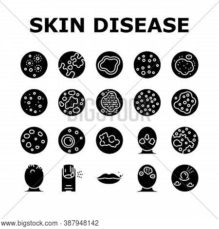 Skin Disease Symptom Collection Icons Set Vector. Skin Cancer And Acne, Vitiligo And Bruise, Eczema