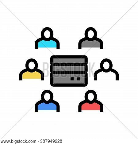 People Communicate Throguh Server Color Icon Vector. People Communicate Throguh Server Sign. Isolate