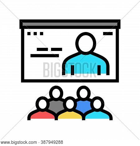 Online Teaching Group Color Icon Vector. Online Teaching Group Sign. Isolated Symbol Illustration