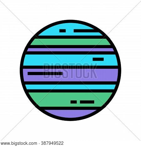 Neptune Planet Color Icon Vector. Neptune Planet Sign. Isolated Symbol Illustration