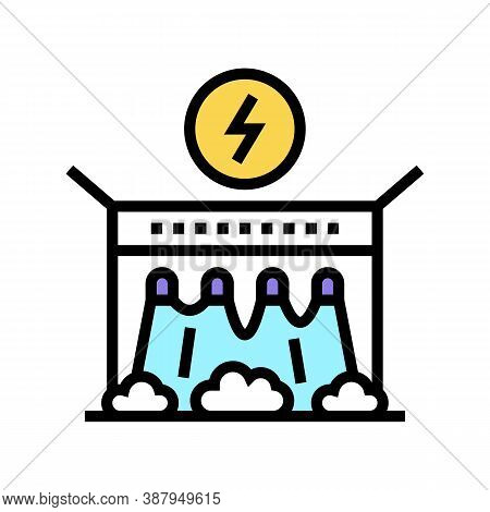 Electrical Dam Color Icon Vector. Electrical Dam Sign. Isolated Symbol Illustration