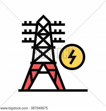 Electrical Tower Color Icon Vector. Electrical Tower Sign. Isolated Symbol Illustration