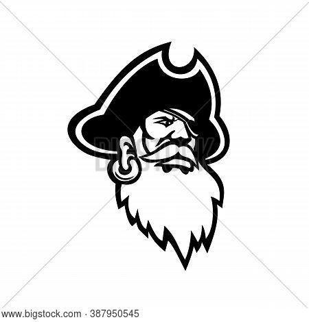 Black And White Mascot Illustration Of Head Of A Buccaneer, Swashbuckler, Pirate, Privateer Or Corsa