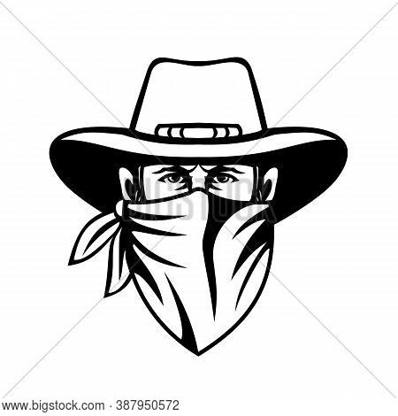 Mascot  Black And White Illustration Of Head Of A Cowboy, Bandit, Outlaw, Maverick, Highwayman Or Ba