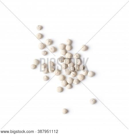 White Peppers Corn Isolated On The White Background. Top View.