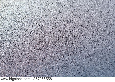 Ice And Frost On A Window Pane In Winter. Crystal Surface Of Frozen Water. Weather Forecast: Cold, F