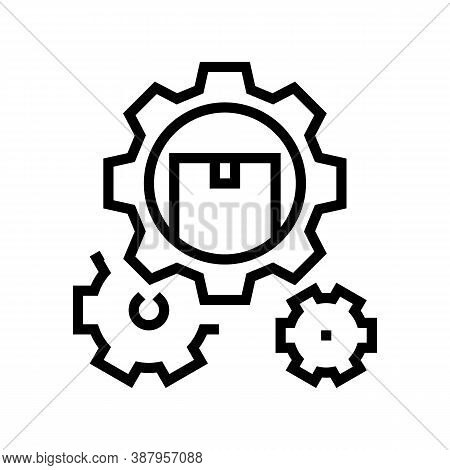 Delivering Working Mechanism Line Icon Vector. Delivering Working Mechanism Sign. Isolated Contour S