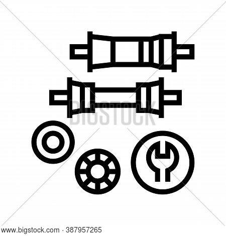Bottom Bracket Carriage Elimination Line Icon Vector. Bottom Bracket Carriage Elimination Sign. Isol