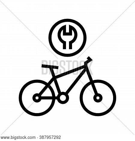 Complex Bike Repair Line Icon Vector. Complex Bike Repair Sign. Isolated Contour Symbol Black Illust