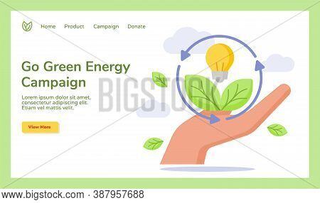 Go Green Energy Hand Hold Leaf Bulb Lamp Campaign For Web Website Home Homepage Landing Page Templat