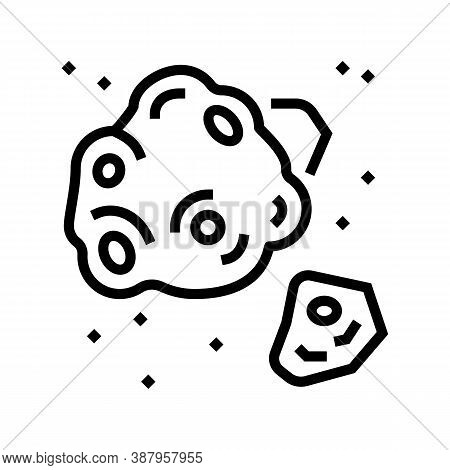 Meteor Asteroid Line Icon Vector. Meteor Asteroid Sign. Isolated Contour Symbol Black Illustration
