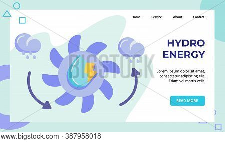 Hydro Energy Water Wheel Campaign For Web Website Home Homepage Landing Page Template Banner With Fl