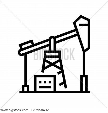 Petrol Derrick Line Icon Vector. Petrol Derrick Sign. Isolated Contour Symbol Black Illustration