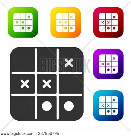 Black Tic Tac Toe Game Icon Isolated On White Background. Set Icons In Color Square Buttons. Vector