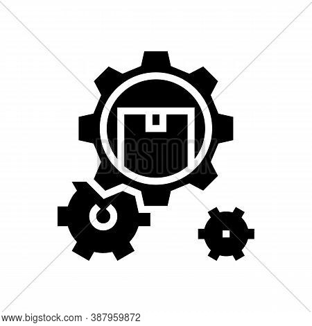 Delivering Working Mechanism Glyph Icon Vector. Delivering Working Mechanism Sign. Isolated Contour