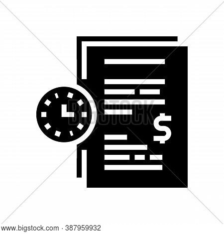 Forfeit For Time Late Agreement Glyph Icon Vector. Forfeit For Time Late Agreement Sign. Isolated Co