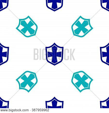 Blue Shield Icon Isolated Seamless Pattern On White Background. Guard Sign. Security, Safety, Protec