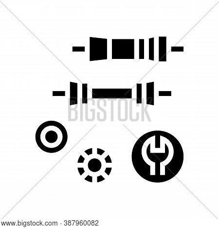 Bottom Bracket Carriage Elimination Glyph Icon Vector. Bottom Bracket Carriage Elimination Sign. Iso