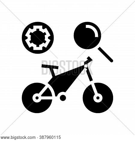 Complex Bike Maintenance Glyph Icon Vector. Complex Bike Maintenance Sign. Isolated Contour Symbol B