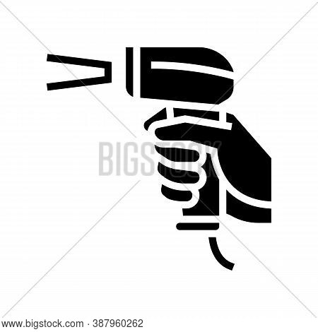 Barcode Scanner Glyph Icon Vector. Barcode Scanner Sign. Isolated Contour Symbol Black Illustration