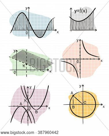 Hand-drawn Algebraic Graphs Of Mathematical Functions. Black And White Outlines On Color Background