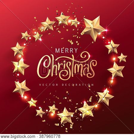 Merry Christmas Lights And Realistic Stars Design Elements. Glowing Lights For Xmas Holiday Greeting