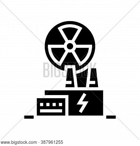 Nuclear Plant Glyph Icon Vector. Nuclear Plant Sign. Isolated Contour Symbol Black Illustration