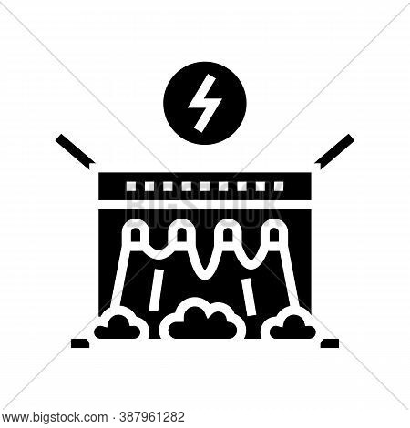Electrical Dam Glyph Icon Vector. Electrical Dam Sign. Isolated Contour Symbol Black Illustration