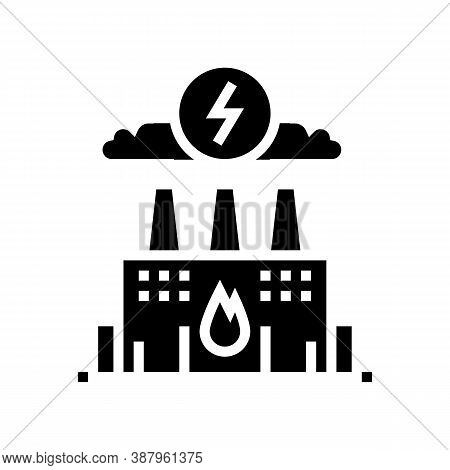 Energy Factory Glyph Icon Vector. Energy Factory Sign. Isolated Contour Symbol Black Illustration