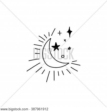 Doodle Outline Shining Waning Moon And Stars Of Different Shapes. Heavenly Composition Of The Moon A