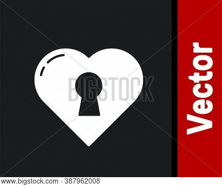 White Heart With Keyhole Icon Isolated On Black Background. Locked Heart. Love Symbol And Keyhole Si