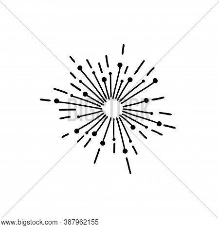Radiance, Fireworks, Star Sparkle. Contour Of A Glittering Star Celestial Element. Hand Drawn Shinin