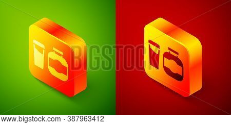 Isometric Sports Nutrition Bodybuilding Proteine Power Drink And Food Icon Isolated On Green And Red
